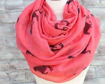 Fashion Horse Infinity Scarf Animal Scarf Small Horse Scarves Loop Scarf Horse in Tan Shawls Christmas 2016 gift