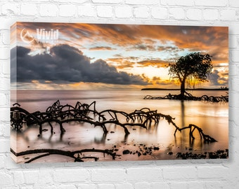 Mangrove print, canvas art, 3 panel canvas, sunset wall decor, 4 panel, 48 inches wide, width 3 feet, small canvas 12x20, surreal sunset art