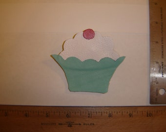 Leather Cupcake Brooch