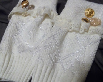 White sweater arm warmers