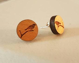 SALE Beautiful wooden bird earrings