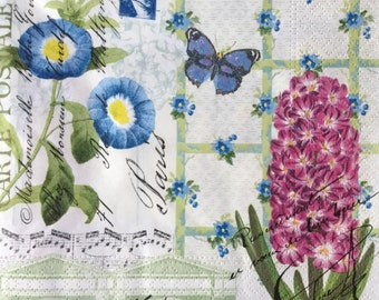 "3 Decoupage Lunch Napkins, Floral Spring Letter, 13"" x 13"""