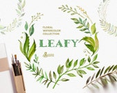 Leafy. Watercolor floral wreaths, branches, leaves, frames, wedding invitation, greeting card, diy clip art, green leaf