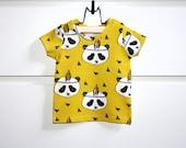 Panda mustard baby t-shirt, baby tank top, baby shirt, toddler shirt, organic cotton, organic baby t-shirt