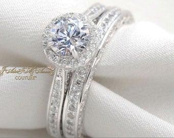 2.5 ctw Vintage Halo Engagement Ring Set, ADORE YOU Man Made Diamond Ring, Sterling Silver Wedding Ring Set, Simulated Diamond Bridal Set