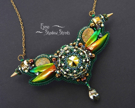 "Necklace ""Flying over the water pond of the evening"" Embroidered jewelry Beadwork necklace Beaded jewelry Green Beetle elytra Beetle wing"