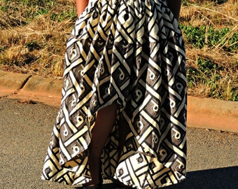 Geometric/African Print High Low A-Line Maxi Skirt w/ Pockets