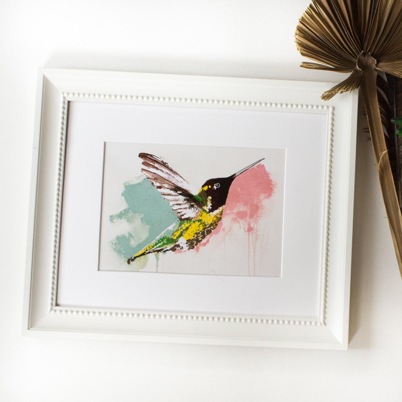 Hummingbird Wall Art Pink And Blue Hummingbird Painting