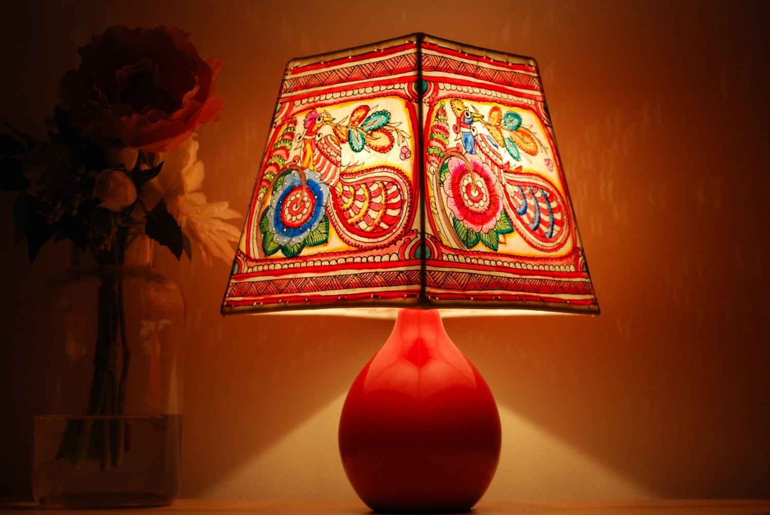 Peacock Lamp Shade Hand Painted Leather Lamp Shade Free