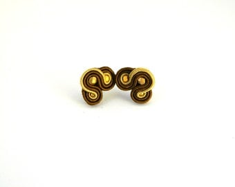 Stud earrings, brown stud earrings, golden stud earrings, soutache earrings, small earrings,