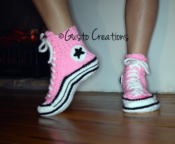 Adult Converse Slippers Crochet PDF pattern High by ...