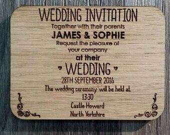 Personalised Wooden Invitations ideal for Weddings, Parties etc - 00086