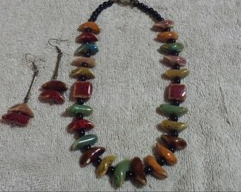 Multi-Colored Polished Necklace Set