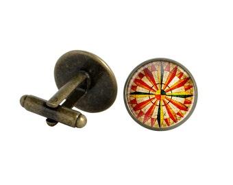 Russian cufflinks Orange cuff links Red orange russian roulette cufflinks Sundial compass suit accessory cufflinks Orange red cuff links