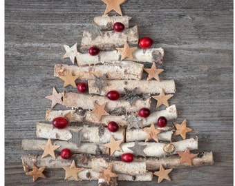 """4.25"""" x 4.25 """" Ceramic Accent Tile- Holiday Christmas Tree"""