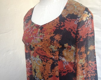 SALE was 45 Dress Vintage Sheer Orange and Black Long Sleeved Maxi Dress Size 8-10