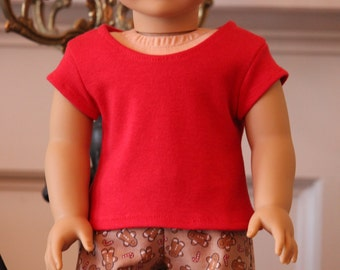 Red Tee Shirt for American Girl dolls