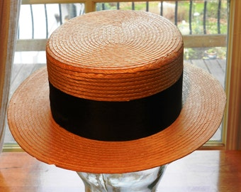 Vintage Italian Made Straw Boater's Hat Flat Top and Rigid            00865