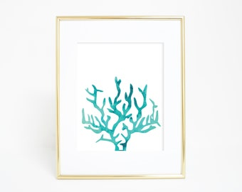 Beach Decor, Coral Print, Watercolor Wall Art, Watercolor Print, Aqua Coral Wall Art, Ocean Print, Nursery Printable, JPEG PDF, Wall Artwork