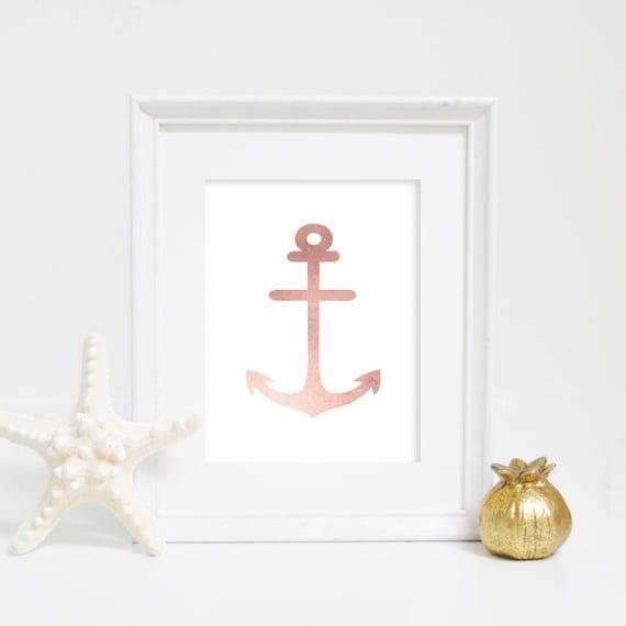 Rose Gold Art Print, Anchor Print, Anchor Artwork, Nautical Artwork, Nautical Decor, Anchor Art Print, Nautical Nursery, Rose Gold Print
