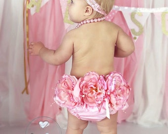 Boutique Blossom Satin Bloomer Set Baby Photo Prop
