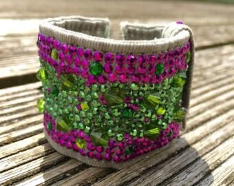Hand made green denin cuff with rhinestuds