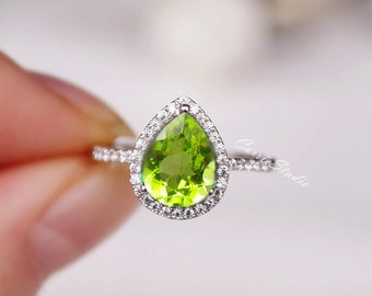 Natural Peridot Ring 7*9mm Peridot Engagement Ring 925 Sterling Silver Ring Anniversary Ring Silver Gemstone Ring
