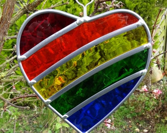 Made to order - Rainbow Stained Glass Heart Garden Tree  or Trellis Ornament Decoration Suncatcher - Anniversary, Birthday or Wedding gift