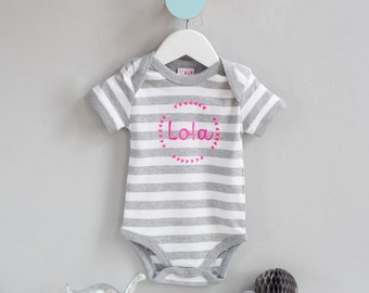 New Baby Gift - Personalised Stripy Baby Onesie with wreath design - New Born Present, Bespoke Baby Gift - Babygrow