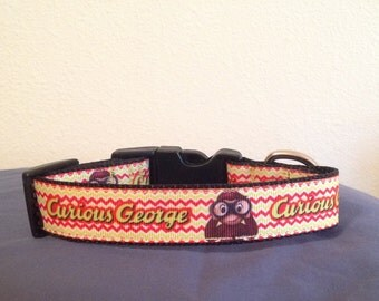 1 inch Wide Custom Made  Courious George Grosgrain Dog Collar