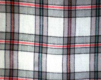 Woven Check Design#2-Rayon Yarn Dyed Woven-Grey Check on White with Red and Green-Fabric by the yard-Best multi Handcraft supply-2Y50Cm.