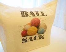 8oz Ball of Yarn Sack Cotton Tote Bag, Knitting Bag, Yarn Bag, Ball Sack, Cotton Canvas Tote Bag, Knitting Needles, Crochet Bag