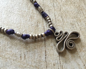 Purple silver necklace, silver beaded necklace, purple silver beaded necklace, purple silver pendant, purple macrame necklace