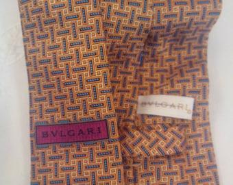 Pleated silk tie necktie Bulgari 7