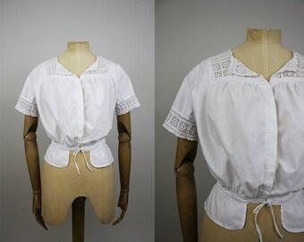 Victorian Corset Cover / Edwardian Camisole / Crochet Lace / White Cotton / Vintage Lingerie / Antique Cotton / Size Extra Small - Small
