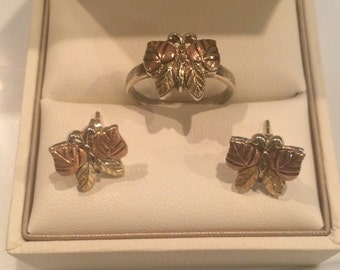 Sterling Silver and Copper Ring and Earring Set, Ring Size: 6