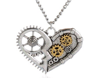 Steampunk Heart & Gears Necklace!