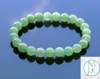 Green Aventurine Natural Gemstone Bracelet Beaded 7-8'' Elasticated Healing Stone Chakra Reiki With Pouch FREE UK SHIPPING