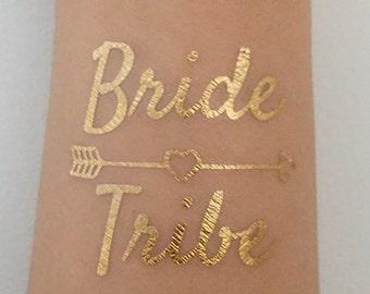 Metallic Gold Flash Bride Tribe Tattoos, Bachelorette Party Favors, Bachelorette Party Waterproof Tattoos - Bride Tribe Tattoo