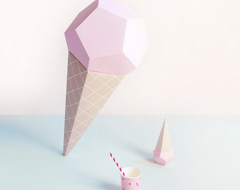 Paper ice creams 3d paper craft kit paper toys ice cream giant ice cream paper sculpture kit strawberry 3d paper craft sweet ice cream pronofoot35fo Choice Image