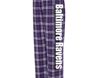 Baltimore Ravens Sports Football Team Flannel Fashion Lounge Pants with Pockets