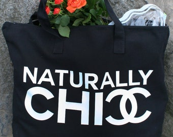 NATURALLY CHIC -  Couture Market Jumbo Zippered Tote Bag !