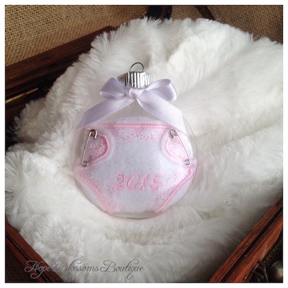 Baby Girl Christening Favors Glass Ornament: Baby's First Christmas Glass Ornament 2015 By