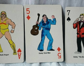 "1980's WWF Wrestling (1988) Playing Cards, Hulk Hogan, Honky Tonk Man, Bobby ""The Brain"" Heenan"