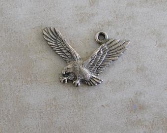 American Eagle Flying Bird Sterling Silver Bracelet Charm Vintage