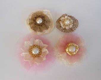 Pink Flowers, Cream Brown Flowers, Handmade Flowers, Lace Tulle Flowers