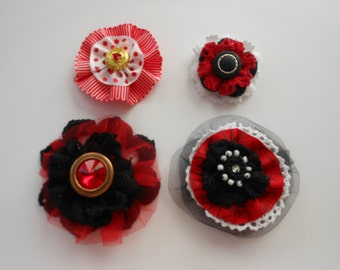 Handmade Flowers, Red Flowers, Lace Flowers, Embellishment