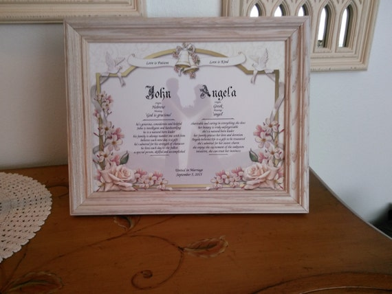 Wedding Gift Personalized First Name Meaning Bride And Groom