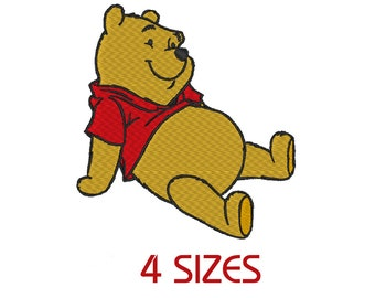 Winnie Pooh Stitch Embroidery Design.  (4 Sizes)