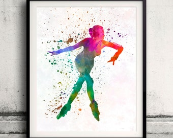 Woman roller skater inline 08 in watercolor - poster watercolor wall art splatter sport illustration print Glicée artistic - SKU 2056